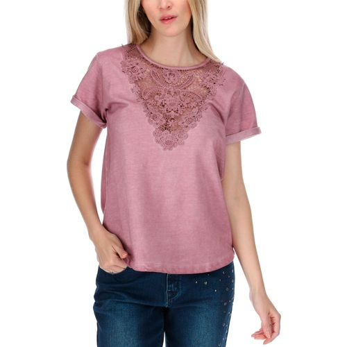 Polera Mujer Lace Front S/S Knit